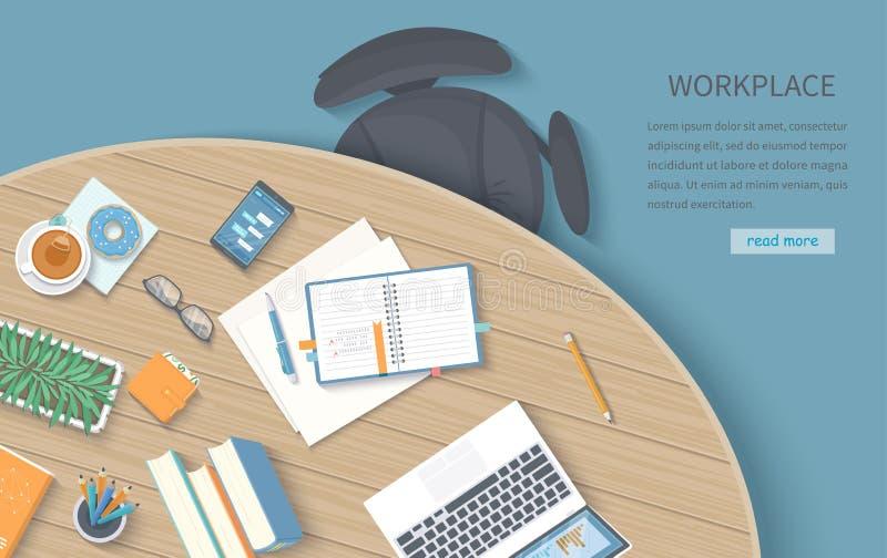 Draufsicht des modernen und stilvollen Arbeitsplatzes Hölzerner Rundtisch, Stuhl, Büroartikel, Laptop, Bücher, Notizbuch, Telefon stock abbildung