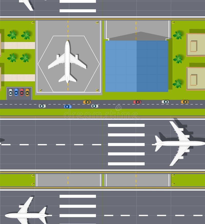 Draufsicht des nahtlosen Flughafens vektor abbildung