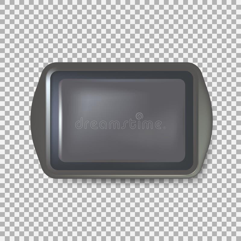 Draufsicht des quadratischen Schwarzblechs Leere Kunststoffschale Metallbehälterpräsentierteller mit Griffen Lokalisiert auf Hint lizenzfreie abbildung