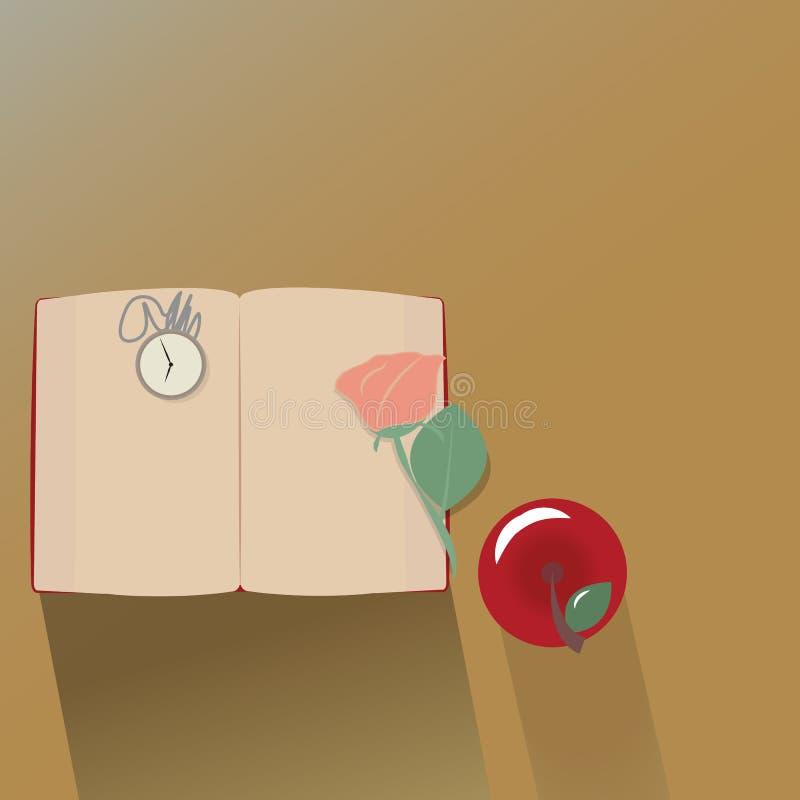 Draufsicht des rosafarbenen Buches, des Apfels und der Uhr des Klassikers Vektor vektor abbildung