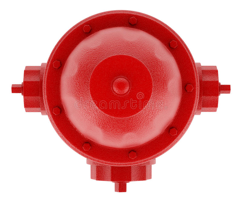 Draufsicht des roten Hydranten lokalisiert auf Weiß lizenzfreie abbildung