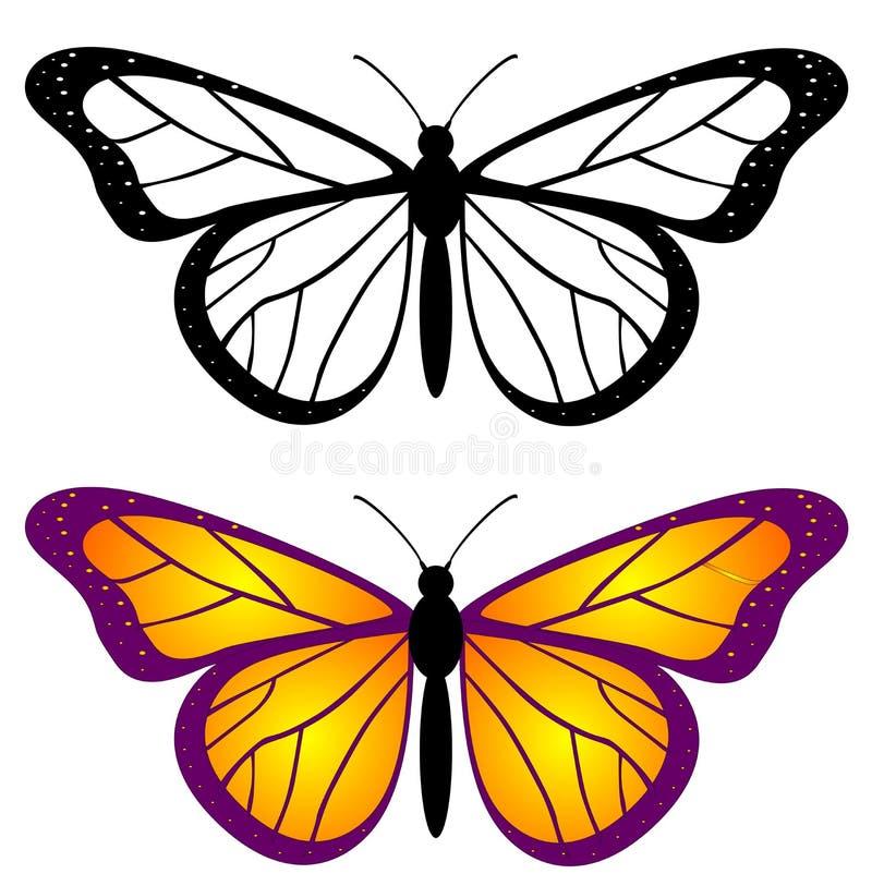 Draufsicht des schönen Schmetterlingssatzes vektor abbildung