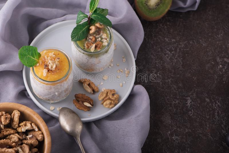 Draufsicht des selbst gemachten Puddings von Chia-Samen und von Mandelmilch mit Getreide und Püree der Kiwi und der Mango mit Wal lizenzfreie stockfotografie