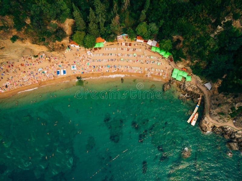 Draufsicht des Strandes Vogelperspektive des sandigen Strandes mit Touristenschwimmen stockbild
