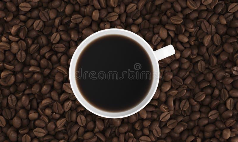 Draufsicht des Tasse Kaffees auf seinen Bohnen lizenzfreie abbildung