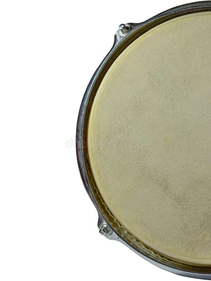 Draufsicht des Trommelleders lokalisiert auf weißem Hintergrund stockfotos