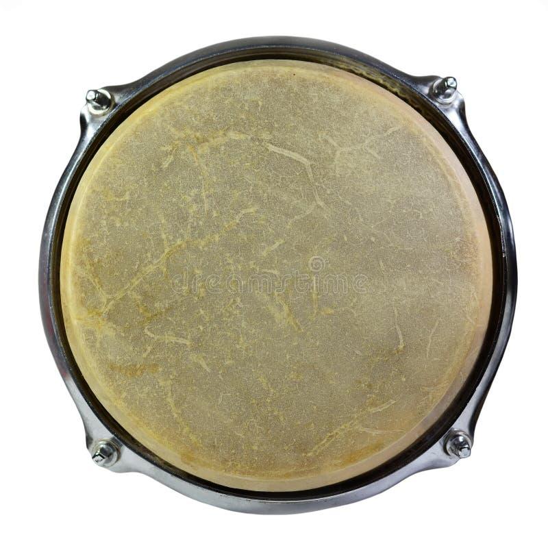 Draufsicht des Trommelleders lokalisiert auf weißem Hintergrund stockbild