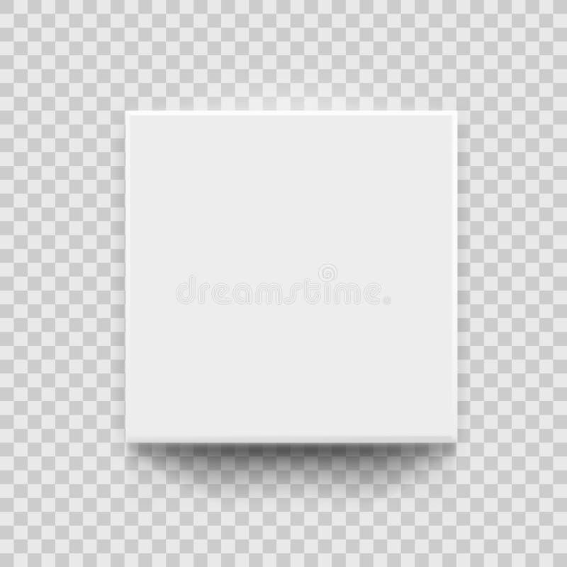 Draufsicht des weißen Kasten-3D mit Schatten lizenzfreie abbildung