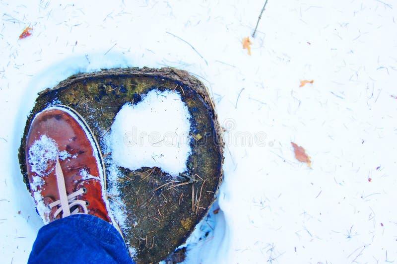 Draufsicht des Winterstiefels auf Stumpf im Schnee, Blue Jeans-Hose, weißer copyspace Hintergrund lizenzfreies stockbild