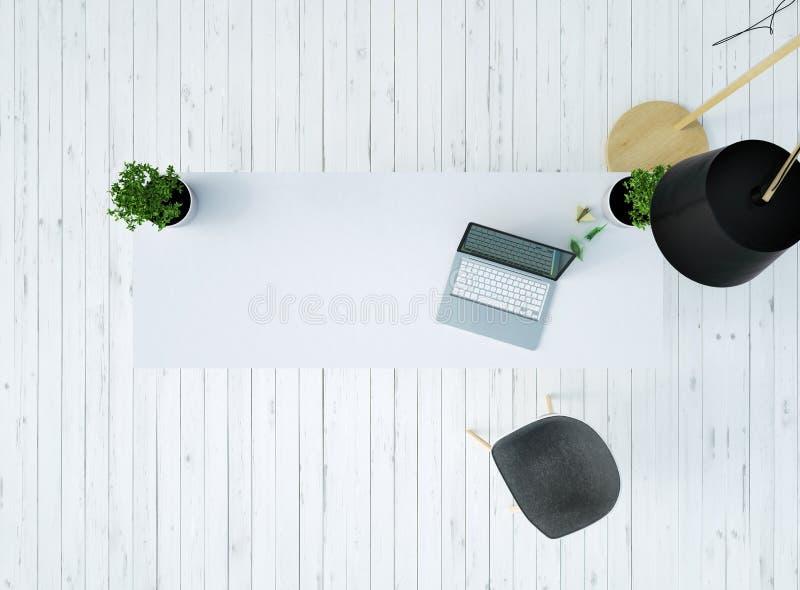 Draufsicht eines Schreibtisches mit einem Laptop und des Stuhls auf einem weißen Bretterboden der Weinlese und einer Lampe an der lizenzfreie abbildung