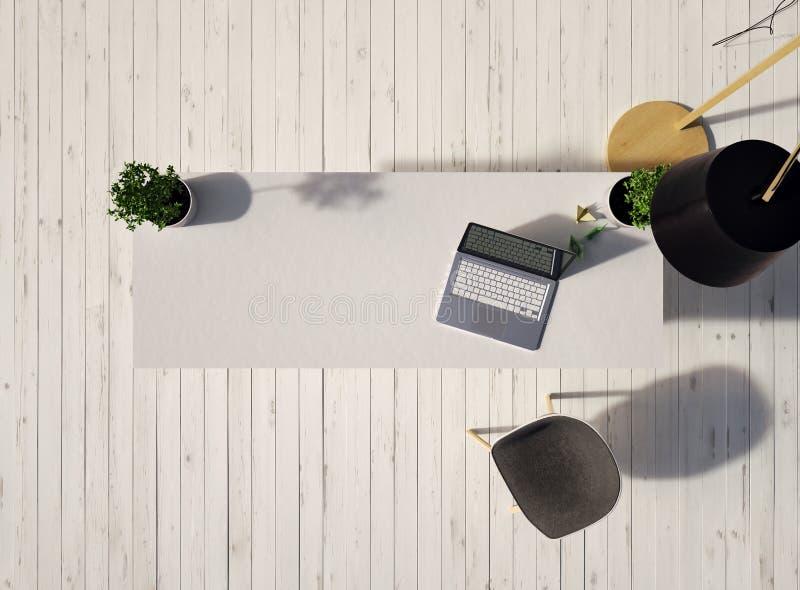 Draufsicht eines Schreibtisches mit einem Laptop und des Stuhls auf einem weißen Bretterboden der Weinlese und einer Lampe an der vektor abbildung