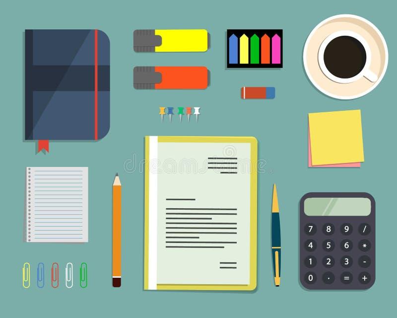 Draufsicht eines Schreibtischhintergrundes lizenzfreie abbildung