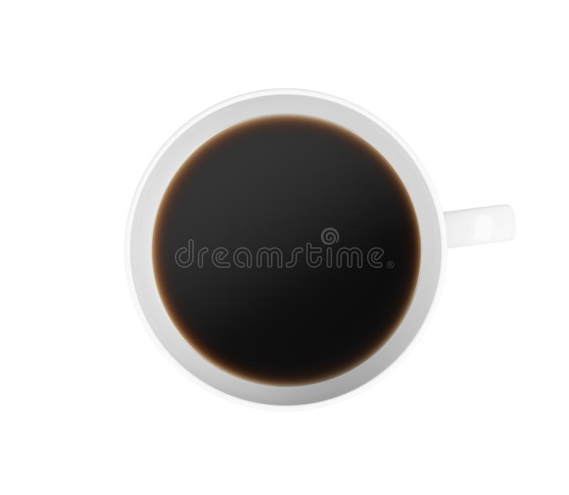 Draufsicht eines Tasse Kaffees Auf weißem Hintergrund stock abbildung