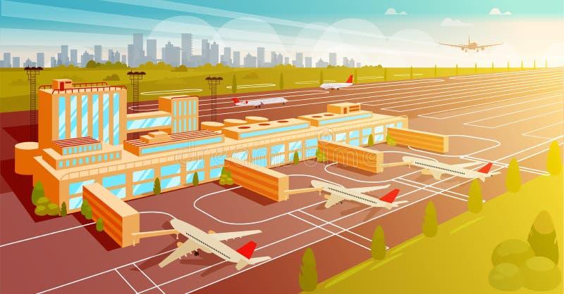 Draufsicht-Flughafen-und Rollbahn-flache Illustration lizenzfreie abbildung