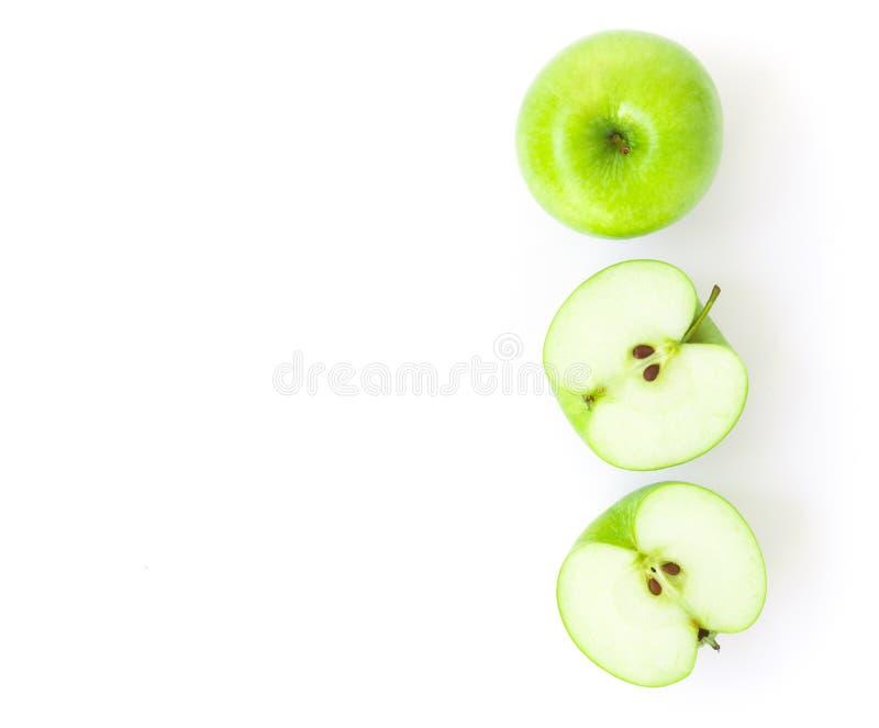 Draufsicht-Grünapfel der Nahaufnahme auf weißem Hintergrund, Frucht für heilen lizenzfreies stockbild