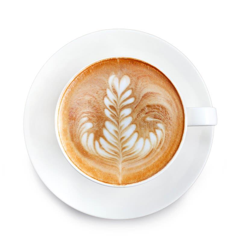 Draufsicht Lattekunstkaffee lizenzfreie stockfotografie
