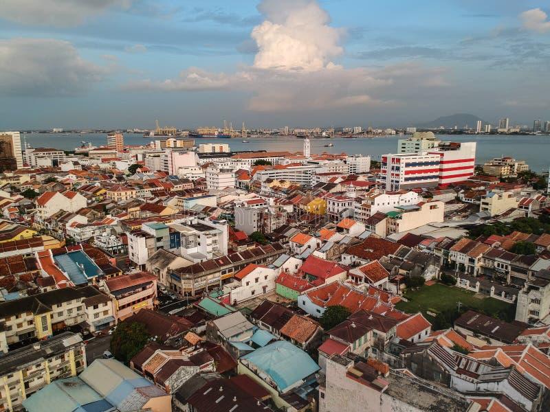 Draufsicht Penang Georgetown Malaysia des Sonnenuntergangs stockbild