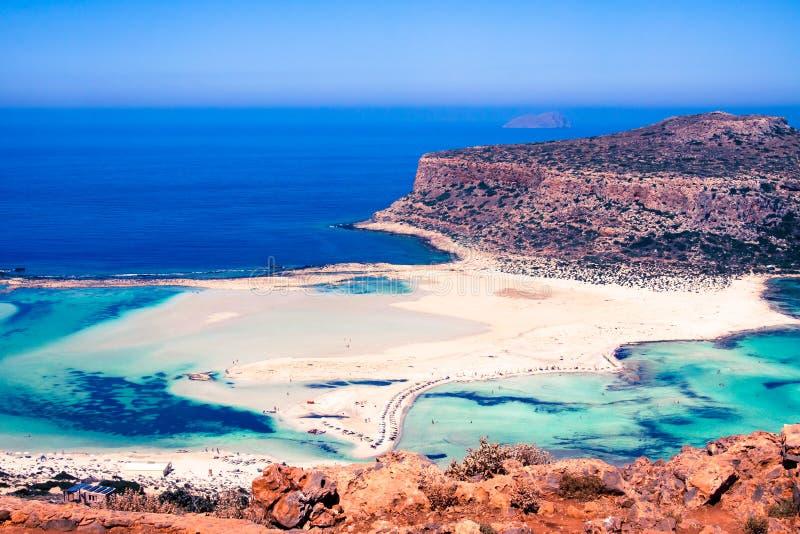 Draufsicht von Balos-Bucht, Kreta, Griechenland, im Sommer stockfotografie
