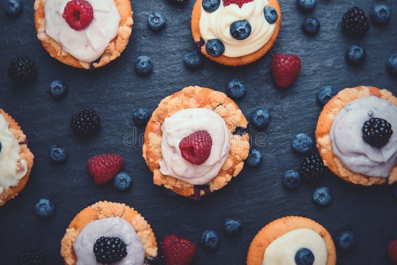 Draufsicht von Berry Cupcakes mit sahnigem Belag stockbild