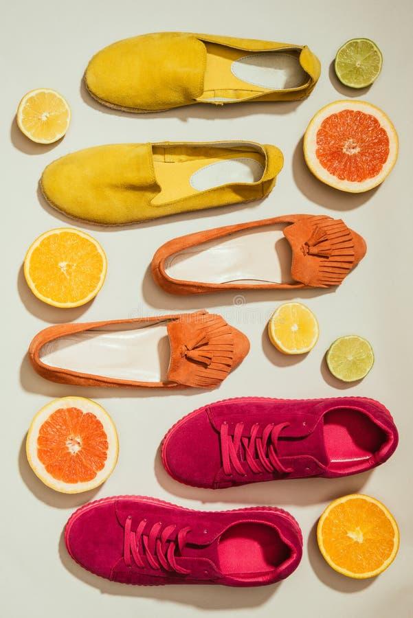 Draufsicht von den stilvollen weiblichen Schuhen gelegt in die Reihe umgeben durch Scheiben von verschiedenen Zitrusfrüchten lizenzfreie stockbilder