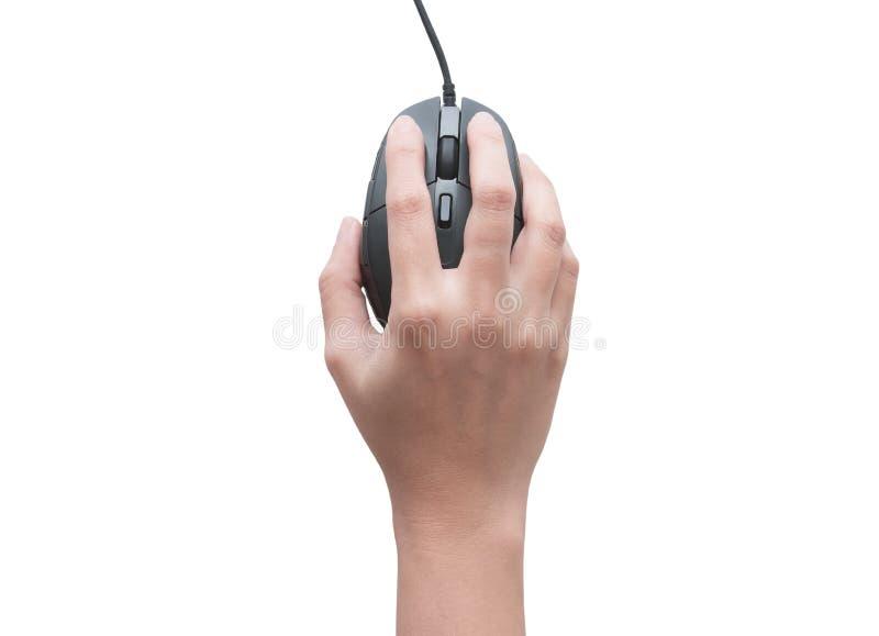 Draufsicht von den weiblichen Händen, welche die Computermaus lokalisiert auf weißen Hintergrund klicken stockbild