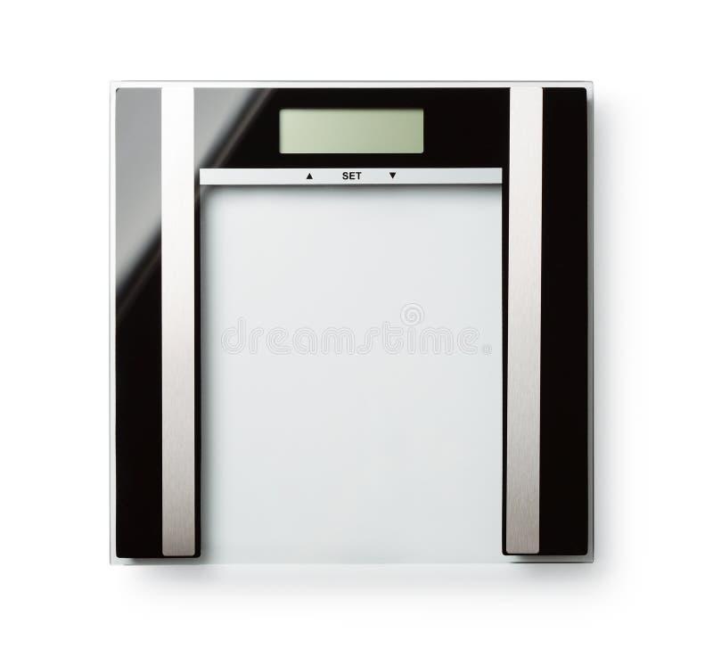 Draufsicht von digitalen Gewichtsglasskalen stockfotografie