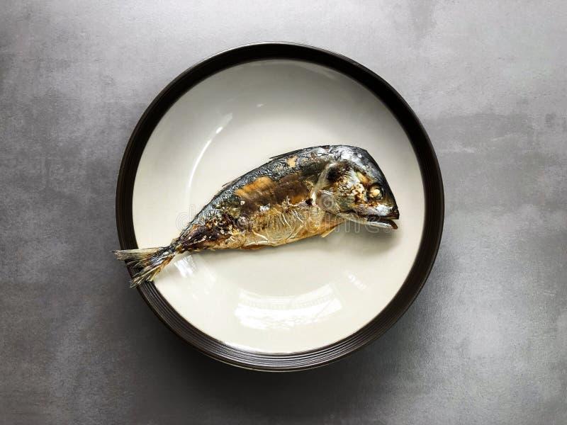 Draufsicht von gebratenen Makrelenfischen auf keramischem Teller stockbild