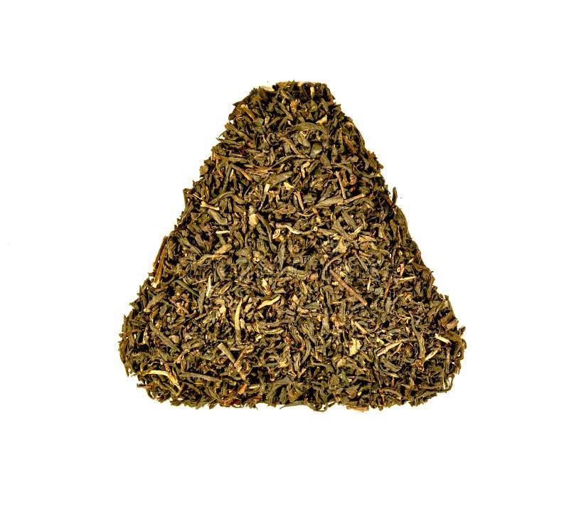 Draufsicht von getrockneten Blättern des Kräutermakro- oder Abschluss des grünen Tees oben lizenzfreie stockfotos