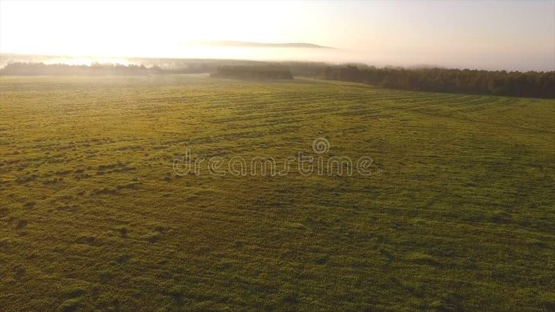 Draufsicht von grünen Hügeln und von blauem Himmel mit tiefen Wolken über ihnen gesamtlänge Nebeliger Horizont mit Morgensonne un stockfotos