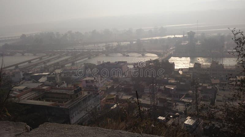 Draufsicht von haridwar von Mansa-devi lizenzfreie stockbilder