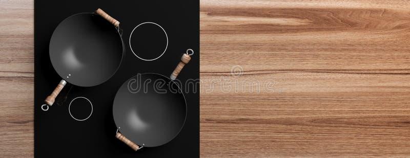 Draufsicht von leeren Woks auf Kocher, hölzerner Hintergrund, Kopienraum Abbildung 3D stock abbildung