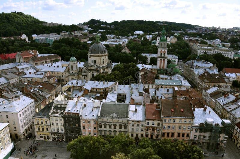 Draufsicht von LvovRathaus alte Stadt, sightseeng lizenzfreies stockfoto