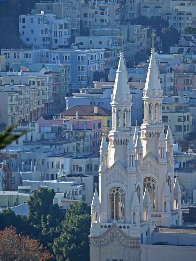 Draufsicht von Str. Peter u. von Paul-Kirche in San Francis lizenzfreies stockfoto