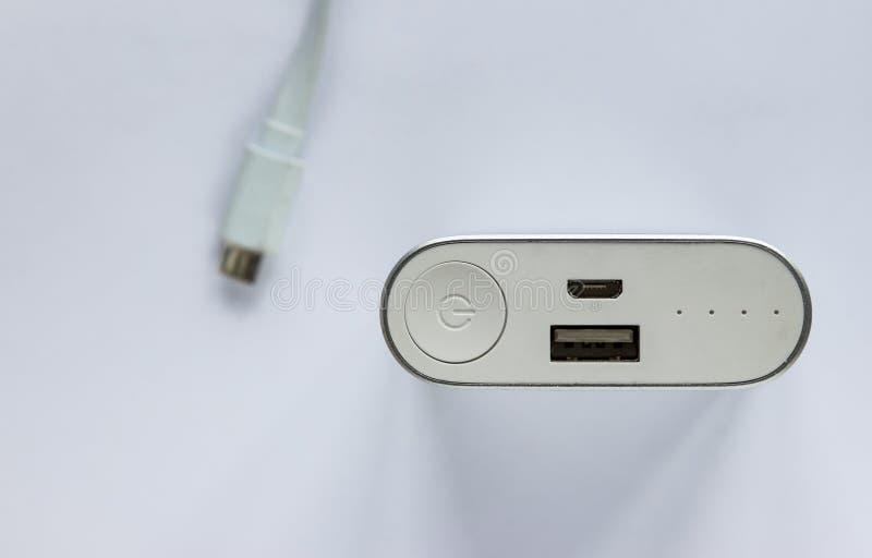 Draufsicht von tragbarer externer Batterieleistungsbank stockfoto