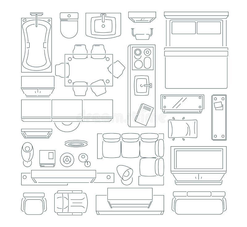 Draufsicht von unterschiedlichen Möbeln stellte für Plan der Wohnung ein Vektormonolinie Bilder eingestellt lizenzfreie abbildung