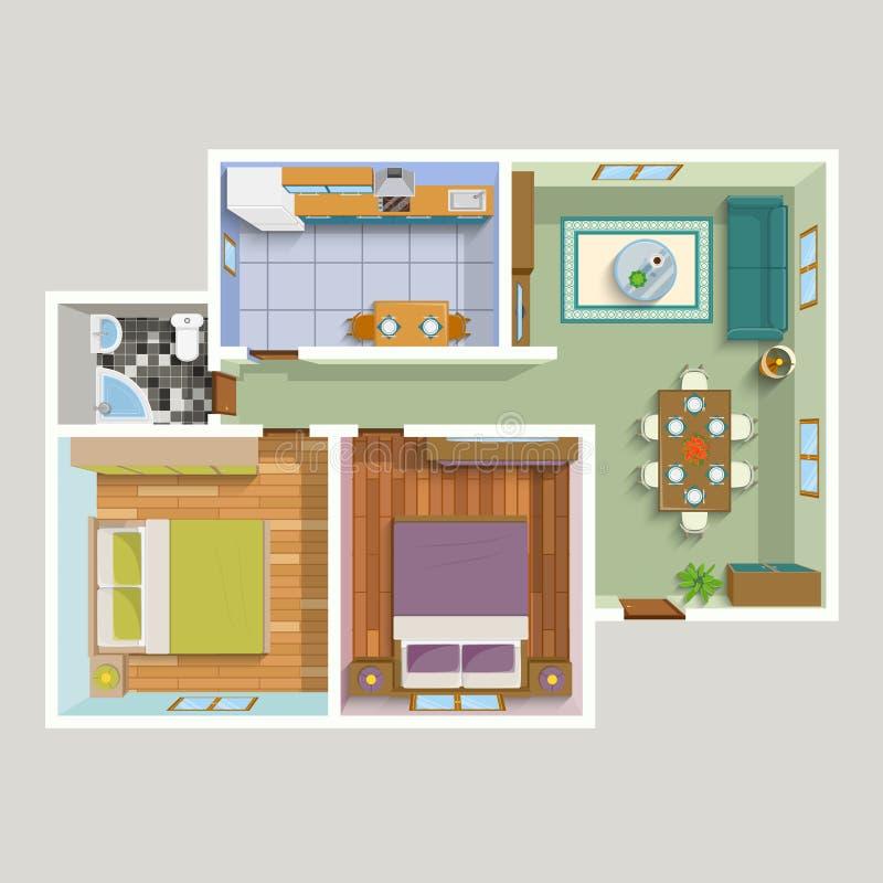 Draufsicht-Wohnungs-Innenraum-detaillierter Plan lizenzfreie abbildung