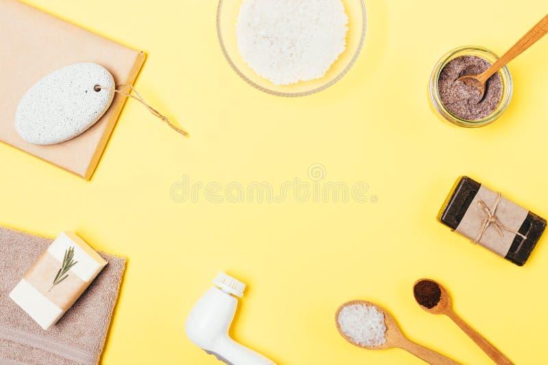 Draufsichtanordnung für Einzelteile für Haupthautpflege stockfotografie