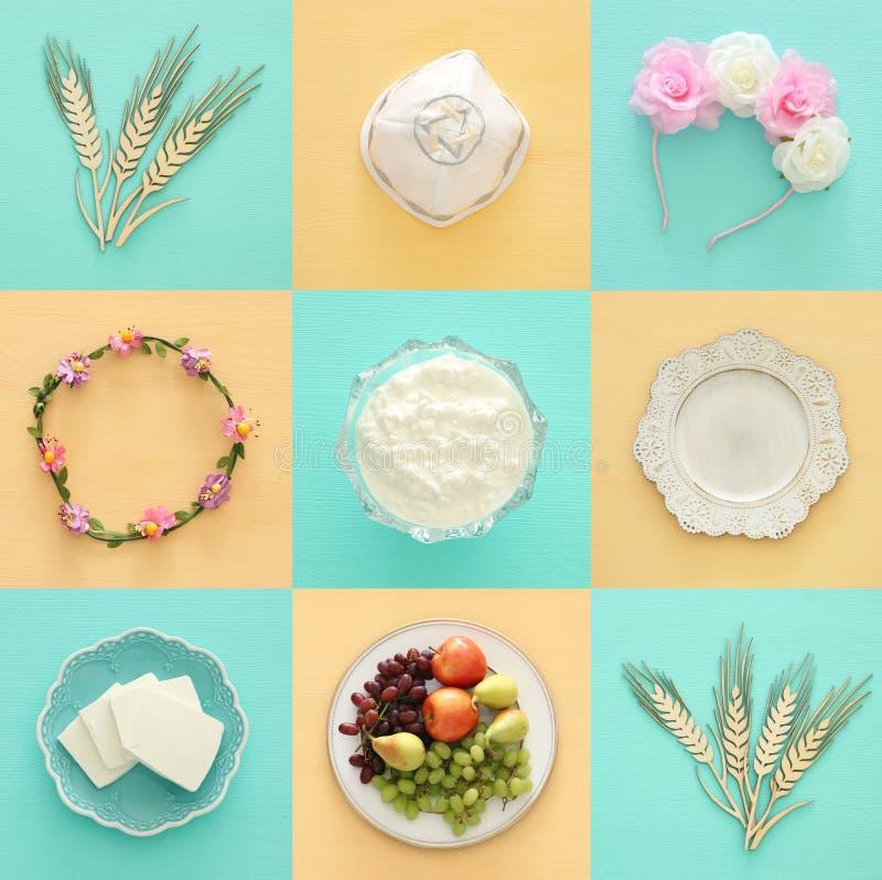Draufsichtcollagenbild von Milchprodukten und Früchten Symbole des jüdischen Feiertags - Shavuot lizenzfreies stockbild