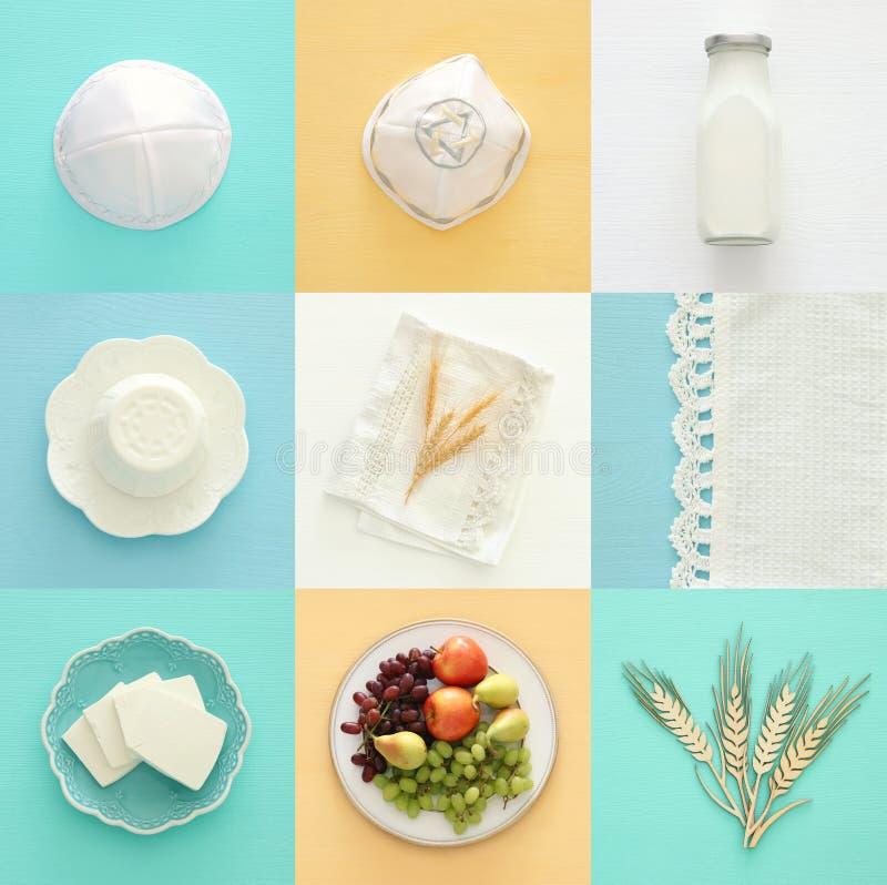 Draufsichtcollagenbild von Milchprodukten und Früchten Symbole des jüdischen Feiertags - Shavuot stockfotografie