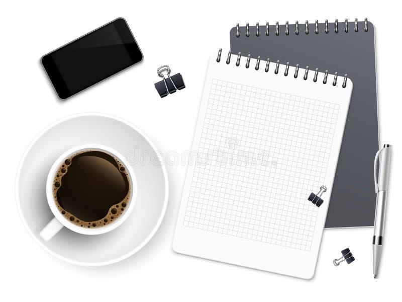 Draufsichtgeschäfts-Kaffeepause mit Notizblock, Telefon und Tasse Kaffee Arbeitsplatzvektorhintergrund vektor abbildung
