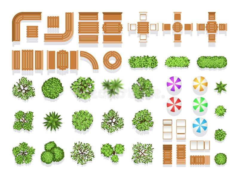 Draufsichtlandschaftsgestaltungsarchitektur-Stadtparkplanvektorsymbole, -Holzbanken und -bäume lizenzfreie abbildung
