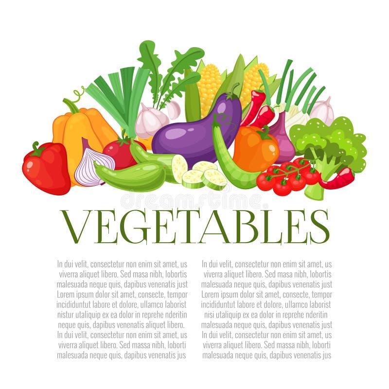 Draufsichtrahmen des Gemüses Landwirtmarkt-Menüdesign Buntes Plakat des biologischen Lebensmittels Bunte organische Fahne mit lizenzfreie abbildung