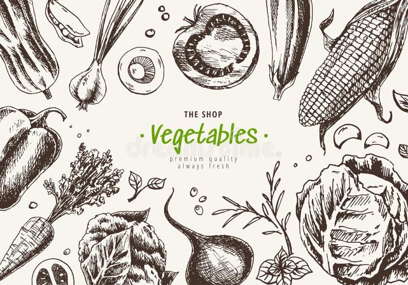 Draufsichtrahmen des Gem?ses Landwirtmarkt-Men?design Plakat des biologischen Lebensmittels Hand gezeichnet, Artbeschaffenheit mi vektor abbildung