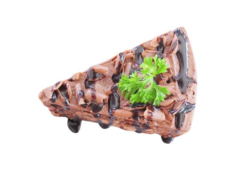 Draufsichtschokoladenkuchenscheibe mit Schokoladensahnigem lokalisiert auf weißem Hintergrund mit Beschneidungspfad lizenzfreies stockbild