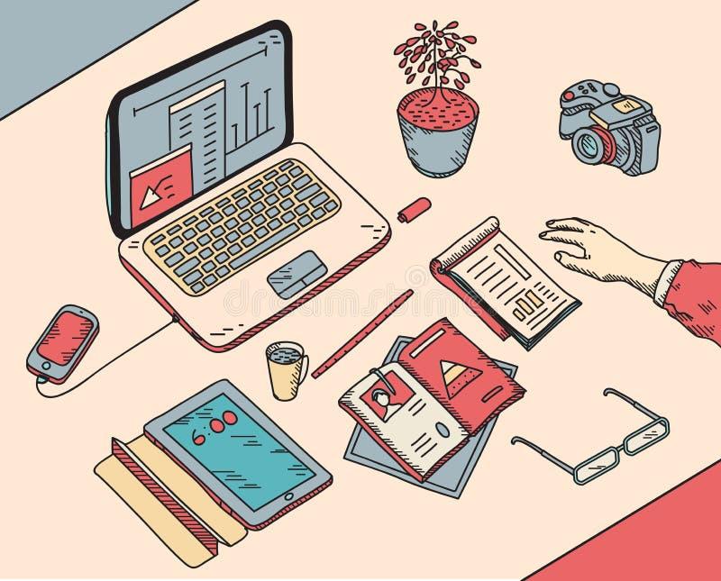 Draufsichtskizze Hand gezeichnetes Büro oder fome vektor abbildung