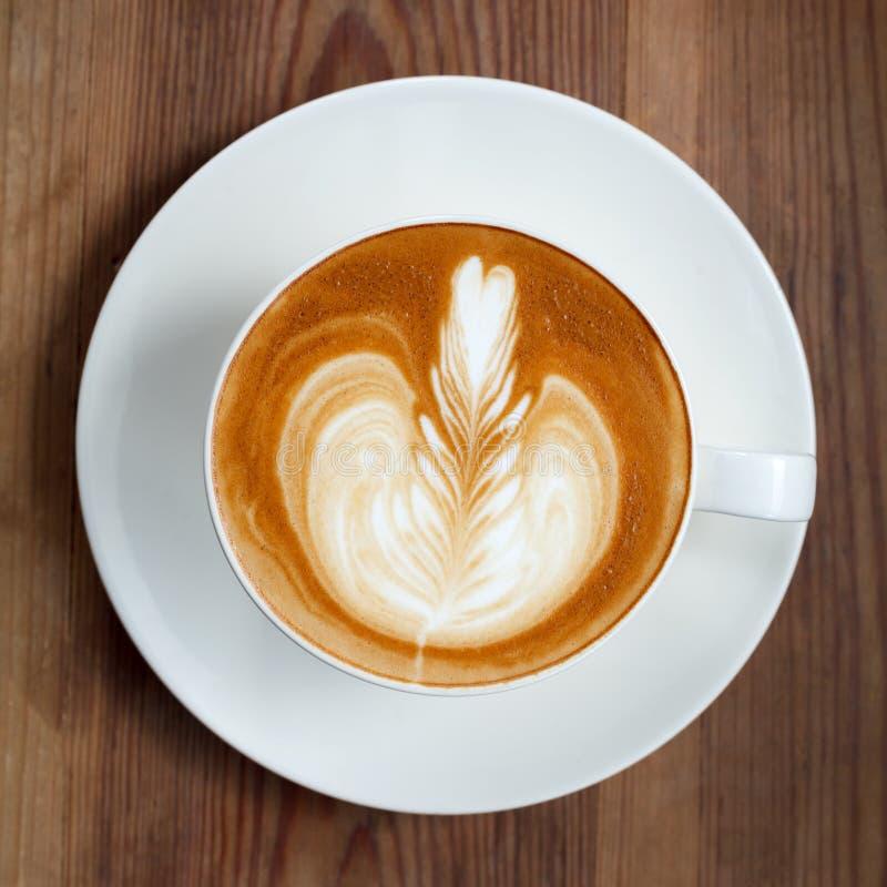 Draufsichttasse kaffee Latte stockfotografie