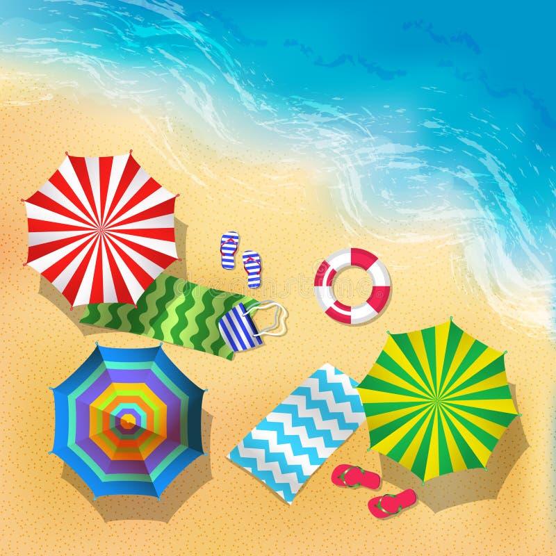 Draufsichtvektorillustration des Strandes, des Sandes und des Regenschirmes Blaues Meer, Himmel u lizenzfreie abbildung