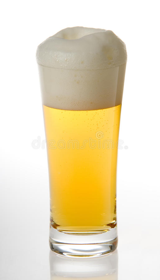 Draught beer. A draught beer with isolated background royalty free stock images