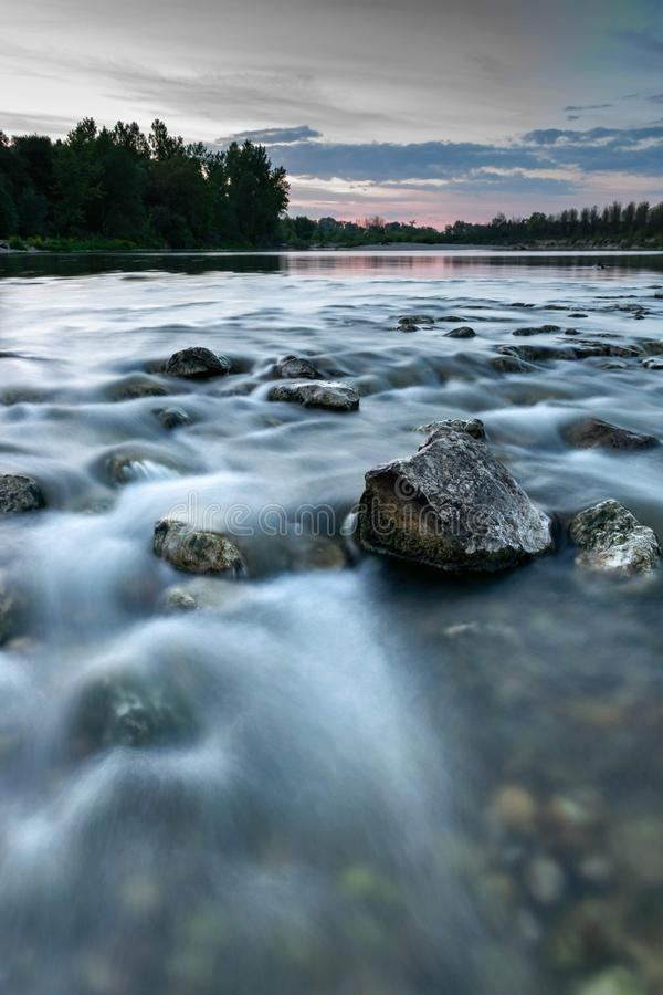 Drava. River, longexposure, nature, sunset stock image