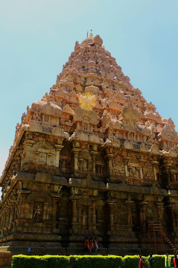 Dravidian a dénommé la tour principale ornementale antique avec des sculptures dans le temple de Brihadisvara dans Gangaikonda Ch images stock